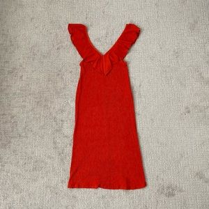 ZARA Ruffle Super Stretch Red Midi Dress